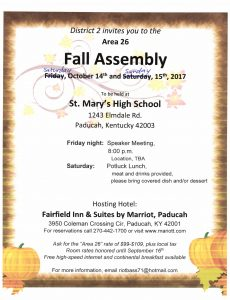 Area 26 Fall Assembly @ St Mary's High School | Paducah | Kentucky | United States