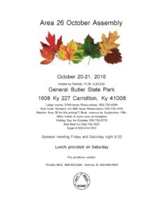 Area 26 Fall Assembly @ General Butler State Park | Paducah | Kentucky | United States