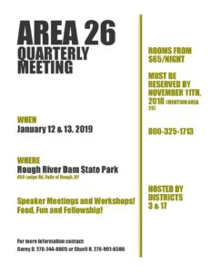 Area 26 January Meeting @ Rough River State Resort Park | Falls of Rough | Kentucky | United States