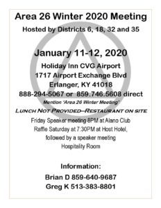 Area 26 January Meeting @ Holiday Inn CVG Airport | Falls of Rough | Kentucky | United States