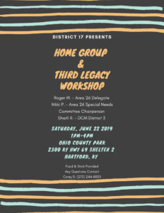 District 17 Home Group & 3rd Legacy Workshop @ Ohio County Park ~ Shelter 2 | Hopkinsville | Kentucky | United States