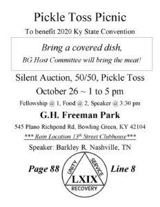 Pickle Toss Picnic ~ 2020 State Convention Fundraiser @ GH Freeman Park
