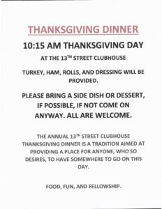 Thanksgiving Dinner @ 13th Street Clubhouse