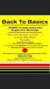 Back To Basics @ Zoom meeting
