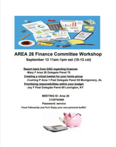 Area 26 Finance Committee Workshop @ Zoom