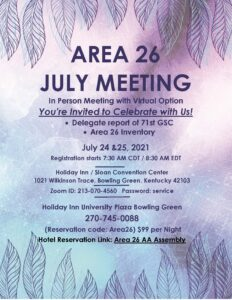 Area 26 July Meeting @ Sloan Convention | Cecilia | Kentucky | United States