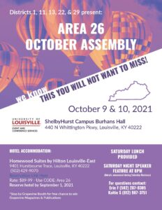 Area 26 Fall Assembly @ ShelbyHurst Campus Burhans Hall | Burkesville | Kentucky | United States